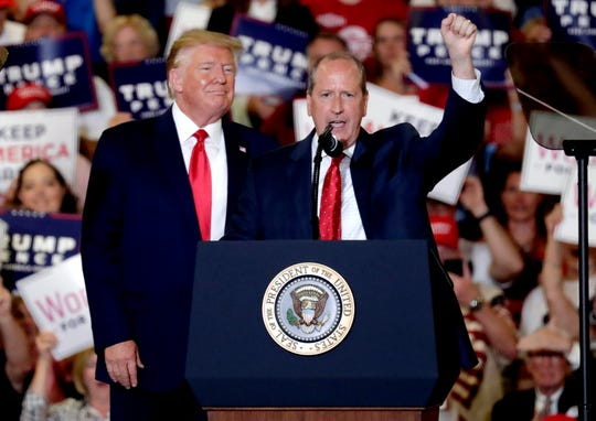 President Donald Trump rallies with Dan Bishop in North Carolina on Sept. 9, 2019.