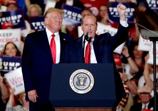 President Donald Trump rallies with Dan Bishop in North Carolina on Sept. 9, 2019.