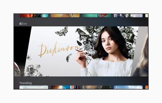 Apple TV+, the company's exclusive video streaming service, launches Nov. 1 with movies, documentaries and several original TV shows including 'Dickinson,' starring Hailee Steinfeld, shown here, as poet Emily Dickinson.
