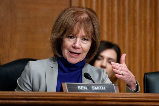 Sen. Tina Smith, D-Minn., speaks during a Senate Committee on Health, Education, Labor, and Pensions hearing on March 5, 2019.