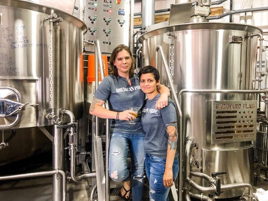 Backward Flag Brewing Co. owner Torie Fisher, left, and head brewer Melinda Gulsever.