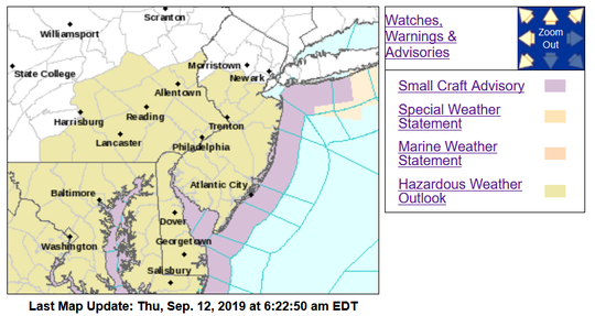 Rip currents will tug at the Jersey Shore Thursday and thunderstorms may pop up around the state.