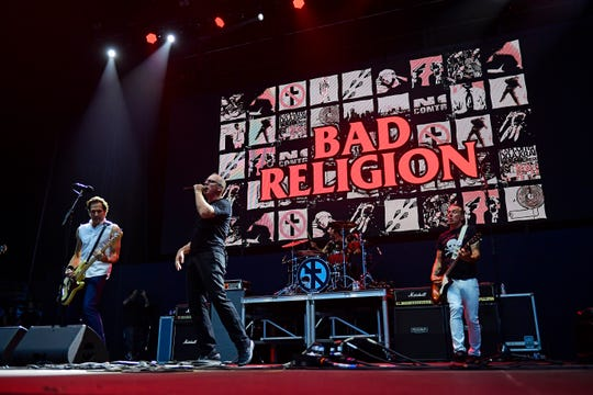 Jay Bentley, from left, Greg Graffin, Jamie Miller and Brian Baker of Bad Religion perform during the first day of Warped Tour on June 29, 2019 in Atlantic City.