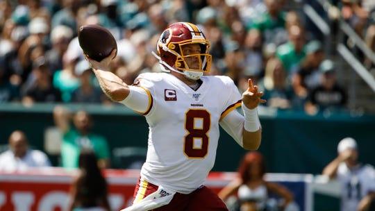 Washington Redskins quarterback Case Keenum (8) prepares to throw the ball against the Philadelphia Eagles on Sunday, Sept. 8, 2019, in Philadelphia.