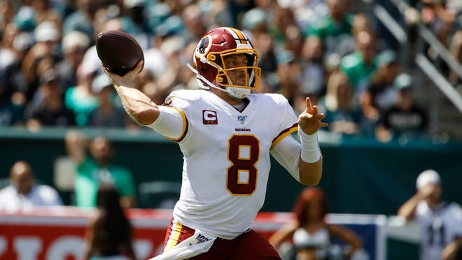 Washington Redskins quarterback Case Keenum (8) prepares to throw the ball against the Philadelphia Eagles on Sunday, Sept. 8, 2019, in Philadelphia.