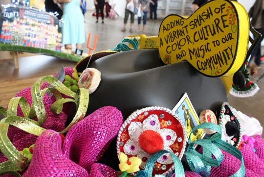 A detailed shot of the Ballet Folklorico del Big Country cowboy hat judged the best in the first Hats off to Abilene decorating contest at the West Texas Fair & Rodeo.