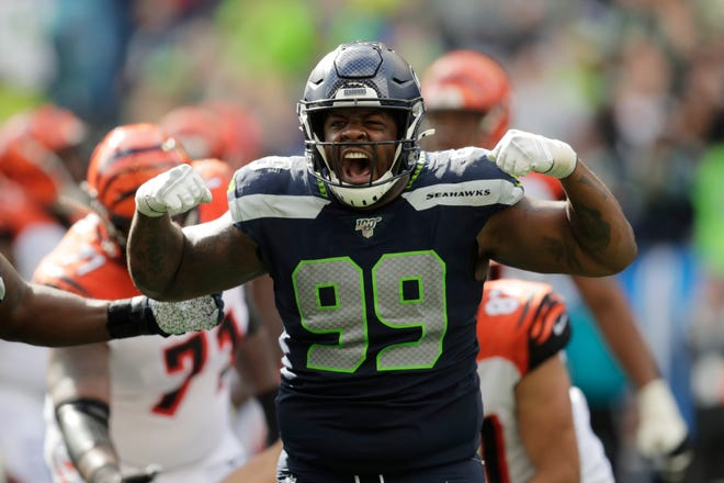 Seattle Seahawks defensive tackle Quinton Jefferson reacts after he sacked Cincinnati Bengals quarterback Andy Dalton during the second half.