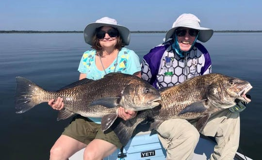 Two happy anglers fished with Capt. Jon Lulay of Mosquito Lagoon Redfish Charters in Titusville this week to land these giant black drum along with a very big oversized redfish.