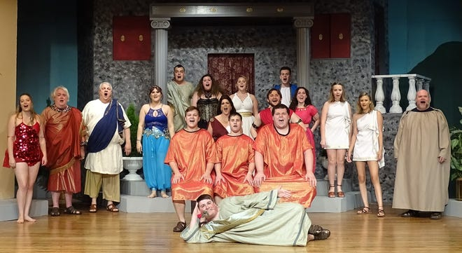 """The cast of the Bucyrus Little Theatre's production of """"A Funny Thing Happened on the Way to the Forum"""" rehearses the musical's opening number Wednesday evening. The show opens Friday."""