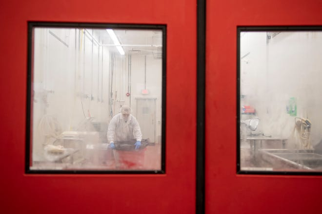 Chuck Behnke of Chank's Pizza Cones works inside the Rutgers Food Innovation Center in Bridgeton.
