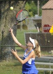 Chillicothe's Abbey Sims-Clark hits a ball during Chillicothe's 4-1 win over Circleville High School at Yoctangee Park in Chillicothe, Ohio on Thursday Sept. 12, 2019.