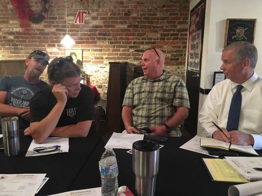 Clarksville Mayor Joe Pitts, right, and members of the Downtown Clarksville Association discuss the state of downtown parking.