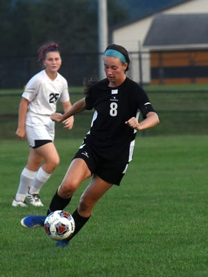 River View's Emmie Brenly dribbles the ball against Coshocton earlier this season. Brenly was selected as the girls soccer player of the year in the East Central Ohio League, which released its fall sports teams on Friday.