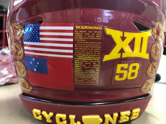 Ray Lima's helmet includes the Samoan flag.