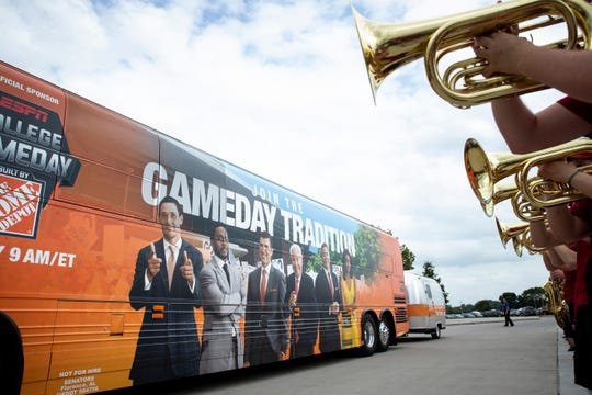"The ISU marching band plays as the ""College GameDay"" bus arrives outside of Jack Trice Stadium on Thursday, Sept. 12, 2019 in Ames."