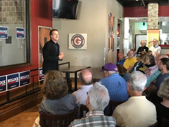 Montana Gov. Steve Bullock speaks to a crowd of a few dozen at Granite City Food & Brewery in Clive.