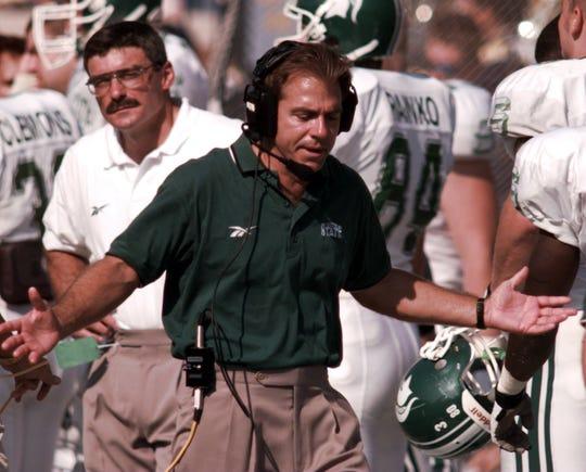 Former MSU head football coach Nick Saban during a game against Michigan, Saturday, Sept. 26, 1998.
