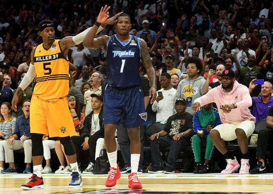 Triplets guard Joe Johnson celebrates making the shot to win the BIG3 Championship at Staples Center, Sept. 1, 2019 in Los Angeles.