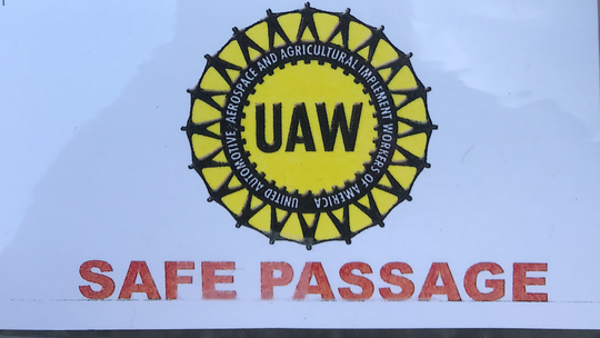 A badge issued to some Leadec Industrial Services workers at General Motors Spring Hill Manufacturing in Spring Hill, Tennessee. The Leadec workers have been told to cross the picket line if GM hourly workers strike.