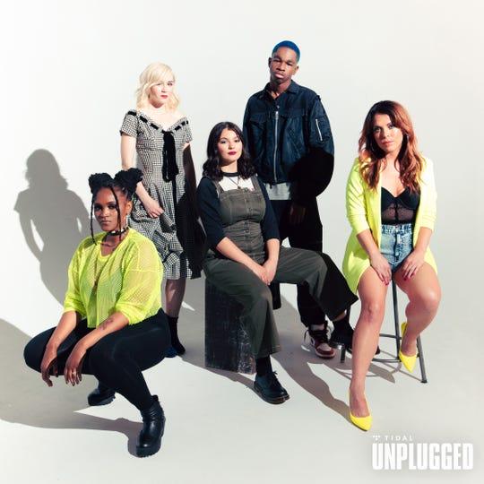 Tidal Unplugged winners (from left) Laurie Love, Olivia Millerschin, Emma Guzman, Sam Austins and Raye Williams.