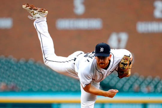 Spencer Turnbull pitches in the fourth inning against the Yankees at Comerica Park.