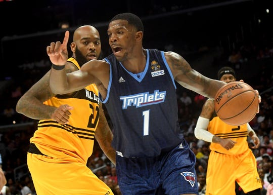 Triplets guard Joe Johnson drives around Killer 3s forward Donte Green during the BIG3 Championship game at Staples Center, Sept. 1, 2019 in Los Angeles.