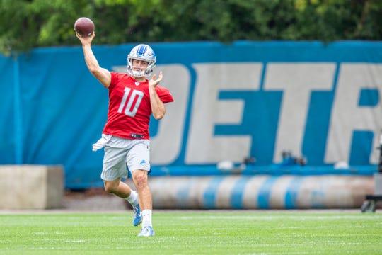 Detroit Lions quarterback David Blough during practice Thursday, Sept. 12, 2019 in Allen Park.