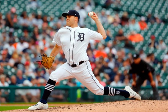 Detroit Tigers starting pitcher Matthew Boyd pitches in the fifth inning against the New York Yankees at Comerica Park, Thursday, Sept. 12, 2019.