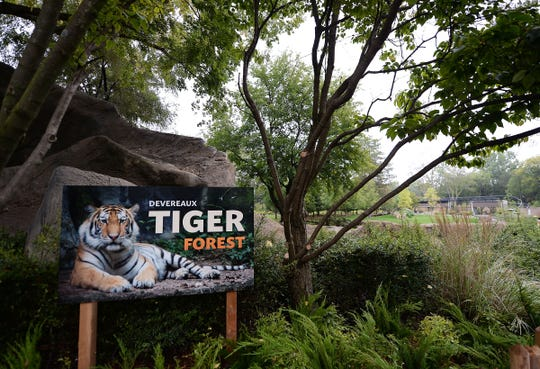 View of the new Deverezux Tiger Forest habitat at the Detroit Zoo.