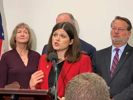 U.S. Rep. Haley Stevens, D-Rochester Hills, speaks at the U.S. Capitol on Thursday, Sept. 12, 2019, urging Russia to release Paul Whelan of Novi, who is from her district.
