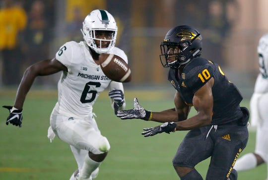 Arizona State wide receiver Kyle Williams (10) had seven catches for 104 yards in last season's game against Michigan State. It'll be up to David Dowell (6) and the rest of the Spartans defense to slow down the Sun Devils air attack, which is led by freshman quarterback Jayden Daniels.