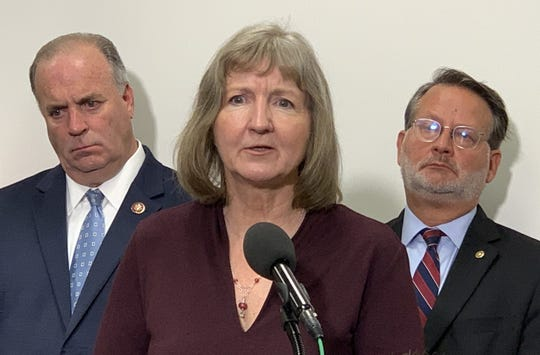 """Elizabeth Whelan, brother of Paul Whelan, speaks at the U.S. Capitol on Thursday, Sept. 12, 2019, saying Paul went to Russia to help a friend and became """"trade fodder in a geopolitical dispute, which is not of his making."""""""