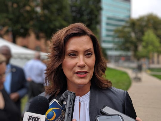 Michigan Gov. Gretchen Whitmer discusses the latest budget stalemate with reporters on Sept. 12, 2019.