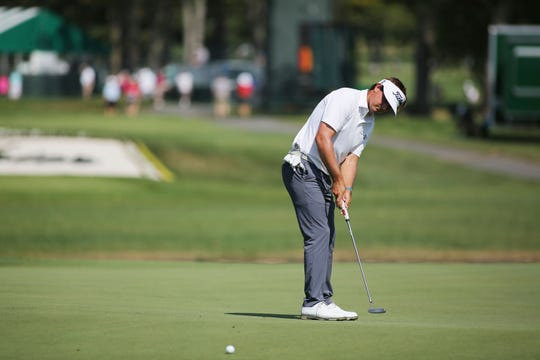 Hank Lebioda putts on the 18th green during the first round of A Military Tribute at The Greenbrier on Thursday.