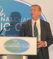 Michigan State University President Samuel Stanley addresses the Lansing Regional Chamber Economic Club on Thursday, Sept. 12, 2019.