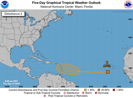 Tropical conditions 8 a.m. Sept. 12, 2019