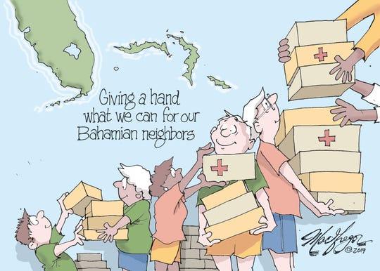 Floridians aid Bahamians.