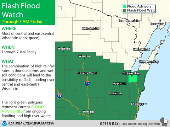 The National Weather Service issued a flash flood watch for east-central Wisconsin until 7 a.m. Friday.