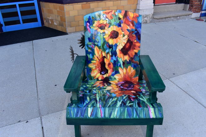 """""""Van Gogh Sunflowers"""" by Nicole Herbst, one of the street art CHAIRries up for auction Sept. 21 as part of Sturgeon Bay Harvest Fest."""