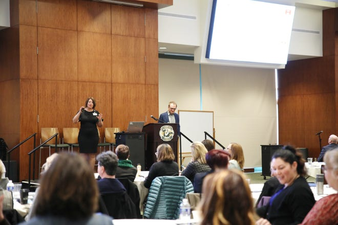 Bellin Health Vice President of Primary Care Kathy Kerscher and Dr. James Jerzak lead the discussion at the 2019 Team-Based Care Conference held earlier this year in Green Bay.