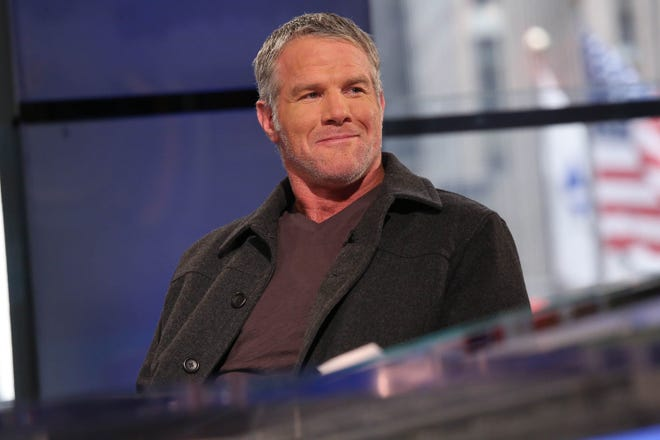 Retired Green Bay Packers quarterback Brett Favre back in his salt-and-pepper hair days.