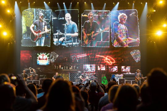"Hootie and the Blowfish perform during the first of three shows in their hometown as part of their ""Group Therapy Tour"" at Colonial Life Arena Wednesday, Sept. 11, 2019, in Columbia, S.C. The band, on hiatus since 2008, formed in 1986 while the members attended the University of South Carolina."