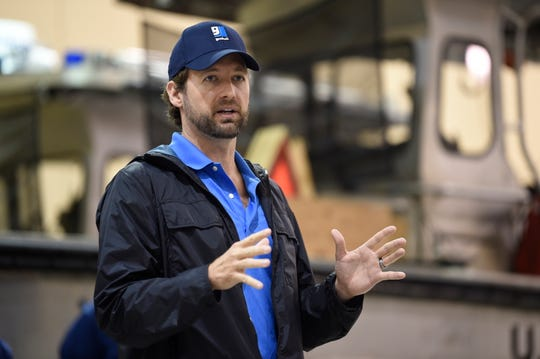 U.S. Rep. Joe Cunningham thanks U.S. Coast Guard officials for their work on Hurricane Dorian preparedness from at their operations center in North Charleston on Wednesday, Sept. 4, 2019.