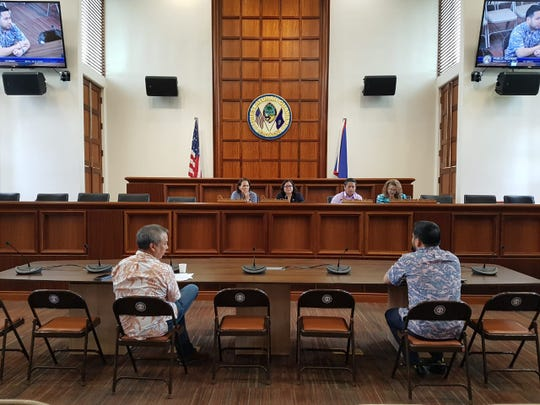 Senators listen to public testimony on Wednesday, Sept. 11, regarding Bill 56, which seeks to conduct an economic impact study on a potential submarine cable industry on Guam.