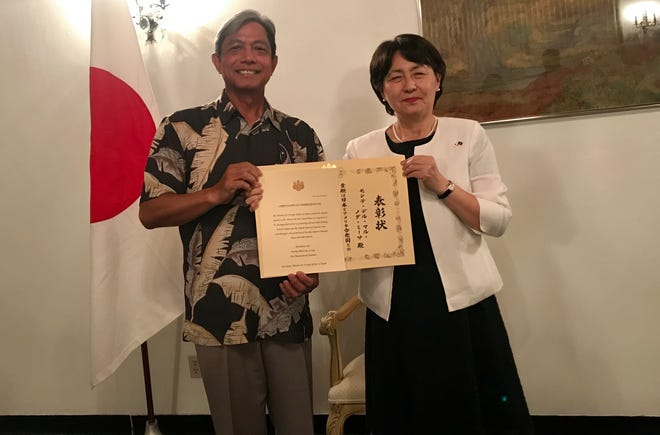 Izumi Seki, the Consulate-General of Japan in Hagåtña, awarded Monte Mesa with the Foreign Minister's Commendation on Thursday, Sept. 12 at her residence. Mesa, the general manager of Guam Premier Outlets, is the second CHamoru to receive the award.
