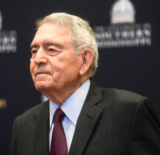 Dan Rather answers questions at a press conference Thursday,  Sept. 12, 2019, at the Trent Lott Center for Economic Development at the University of Southern Mississippi before delivering the 2019 Lt. Col. John H. Dale Sr. Distinguished Lecture.