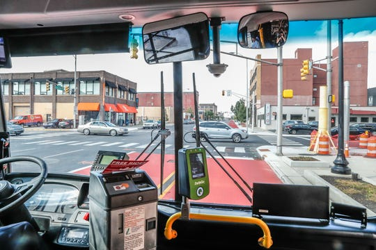 IndyGo Bus Driver Keith Griffie drives the Red Line route north on Wednesday, Sept. 11, 2019.