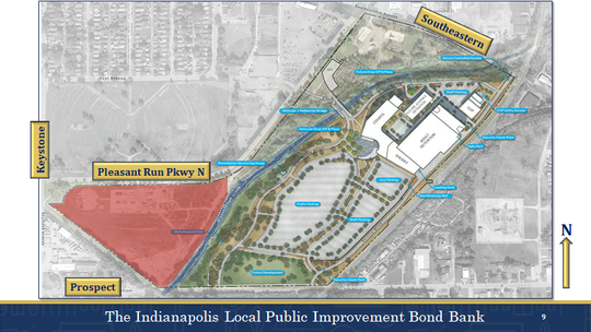 This rendering shows where the new fire training facility is planned for in the Twin Aire neighborhood. The red area is the proposed location.