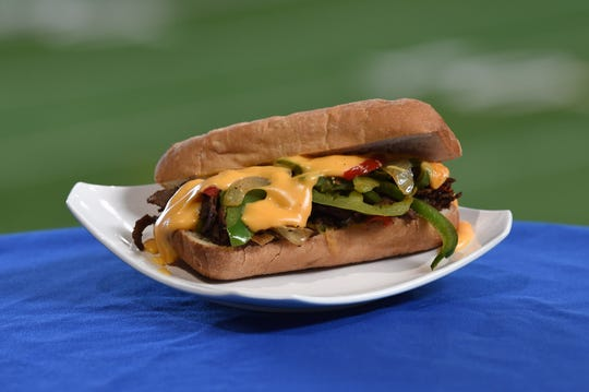 Heartland Cheesesteaks  – Shaved seasoned beef sautéed with onions and peppers, topped with beer cheese sauce and served on fresh baguette. Available for $12 at Lucas Oil Stadium during Indianapolis Colts  games in 2019.