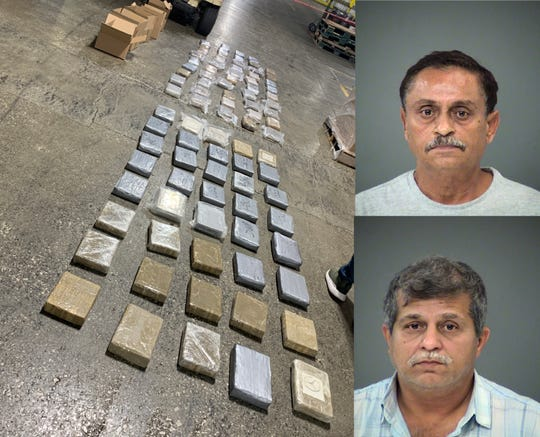 Gurindes Sing (top) and Jagdev Sanda were arrested Sunday after they were stopped in a semi carrying 88 kilos of cocaine.